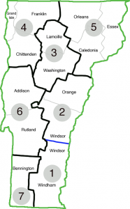 Vermont Area Map of Districts